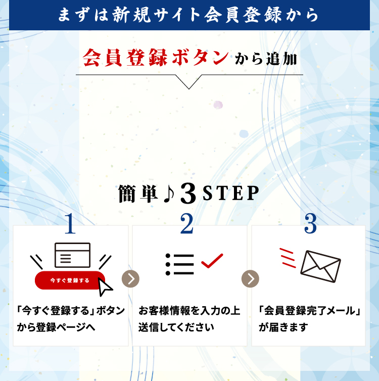 まずは新規サイト会員登録から 簡単3STEP:1「今すぐ登録する」ボタンから登録ページへ;2お客様情報を入力の上送信してください;3「会員登録完了メール」が届きます